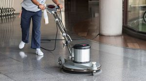 Cleaning with floor buffer appliance