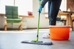 Mopping floor with eco friendly cleaning solutions
