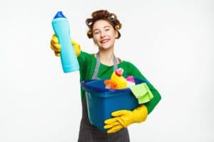 Woman holding home-made cleaning solution