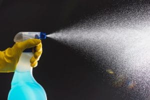 Spraying cleaning solution