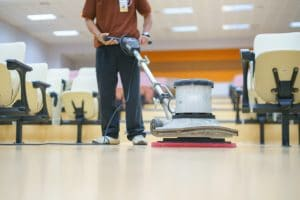 Floor cleaning using buffer